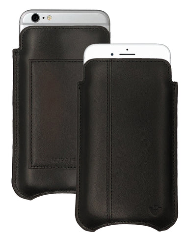 iPhone 6/6s Plus Wallet Case in Black Genuine Leather w/ Black Stitching | Screen Cleaning Sanitizing Lining.