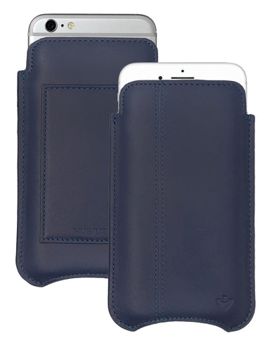 iPhone 6/6s Plus Wallet Case in Blueberry Blue Genuine Leather | Screen Cleaning Sanitizing Lining.