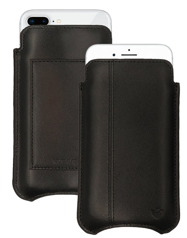 iPhone 8 Plus / 7 Plus Wallet Case in Black Genuine Leather w/ Black Stitching | Screen Cleaning Sanitizing Lining.