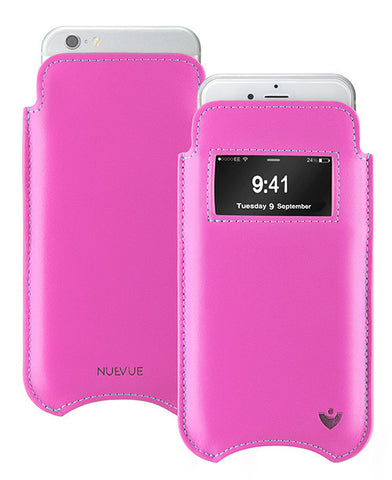 iPhone 6/6s Pouch Case in Pink Napa Leather | Screen Cleaning Sanitizing Lining | smart window
