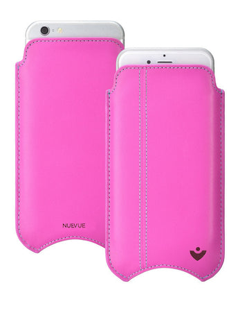 iPhone 8 Plus / 7 Plus Pouch Case in Pink Napa Leather | Screen Cleaning and Sanitizing Lining.