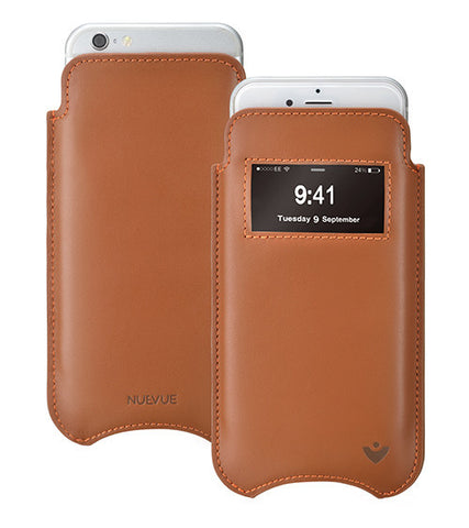 Tan Napa Leather 'Screen Cleaning' iPhone 6/6s pouch case with antimicrobial lining and smart window