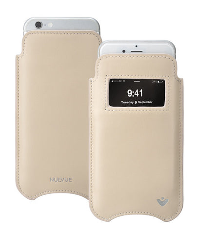 Leather 'Screen Cleaning' iPhone 8 Plus / 7 Plus white pouch case with antimicrobial lining and smart window