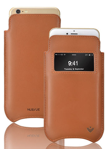 Tan Luxury Leather 'Screen Cleaning Technology' iPhone 8 Plus / 7 Plus sleeve case window.