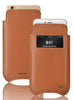 iPhone 8 Plus / 7 Plus Case in Tan Napa Leather | Screen Cleaning Sanitizing Lining | Smart Window.