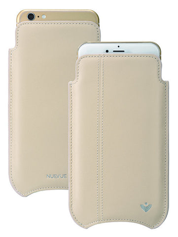 White Leather 'Screen Cleaning' iPhone 6/6s Plus sleeve case with antimicrobial lining