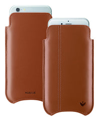 Tan Napa Leather 'Screen Cleaning' iPhone 6/6s sleeve case with antimicrobial lining and orange stitching