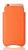 iPhone SE-2 Pouch Case in Orange Faux Leather | Screen Cleaning and Sanitizing Lining