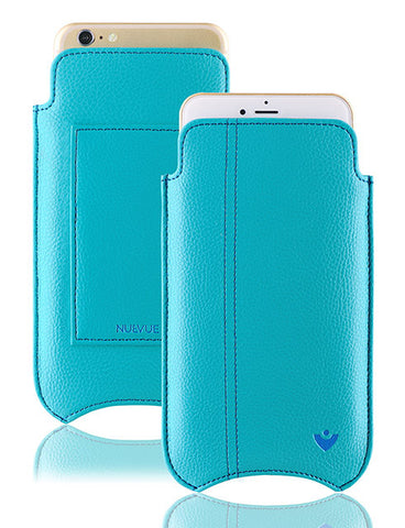 iPhone 8 / 7 Wallet Sleeve Case in Blue Faux Leather 'Screen Cleaning Technology' Sanitizing Lining