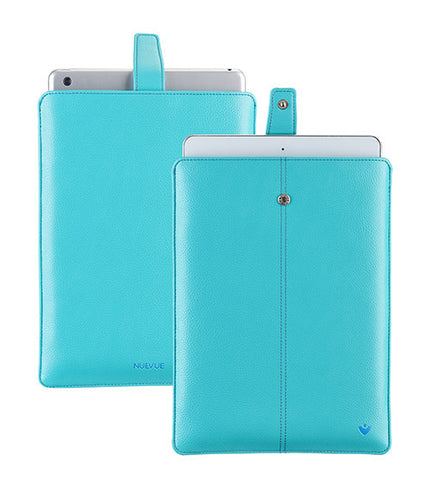 "Vegan Leather ""Screen Cleaning"" iPad Teal Blue Sleeve Case with Antimicrobial Lining"