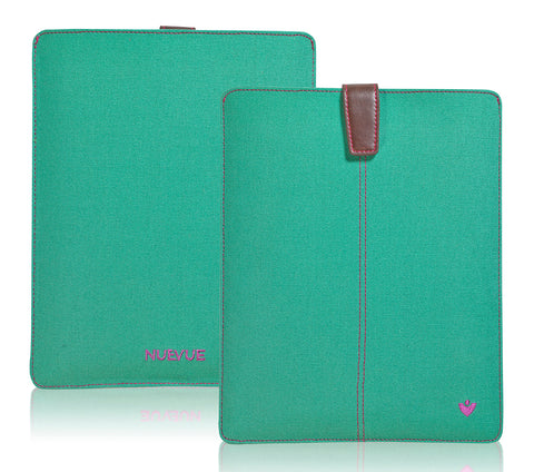 Apple iPad Sleeve Case in Canvas Green 'Screen Cleaning' with antimicrobial lining