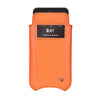 iPhone 8 / 7 Pouch Case in Orange Faux Leather | Screen Cleaning and Sanitizing Lining |  Smart Window