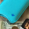 iPhone 8 / 7 Case Blue Faux Leather with 'Built-in Screen Cleaning Technology' and Sanitizing Lining.