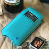 Vegan Leather 'Screen Cleaning' iPhone 6/6s Plus Teal Blue pouch wallet case with antimicrobial lining, and smart window