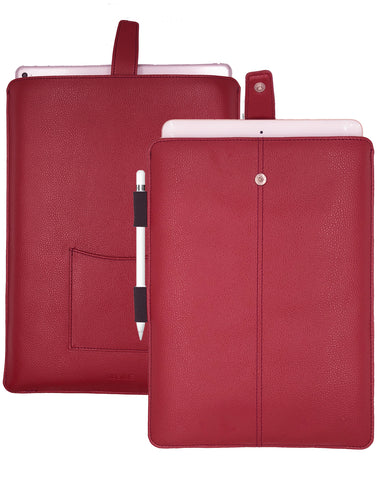 iPad Pro Sleeve Case Rose Red Faux Leather 'Screen Cleaning' and Sanitizing Lining