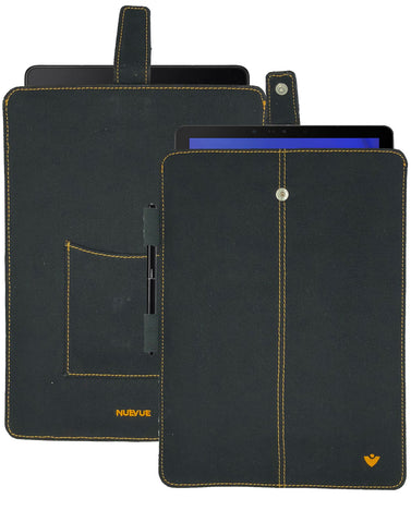 Samsung Galaxy Tab S4 Sleeve Case in Black Cotton Twill | Screen Cleaning and Sanitizing Lining.
