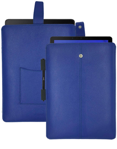 Samsung Galaxy Tab S4 Sleeve Case in French Blue Faux Leather | Screen Cleaning and Sanitizing Lining.