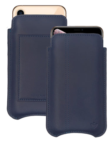NueVue iPhone XR Wallet Case Napa Leather | Blueberry Blue | Sanitizing Screen Cleaning Case