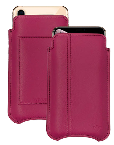NueVue iPhone XR Wallet Case Napa Leather | Samba Red | Sanitizing Screen Cleaning Case