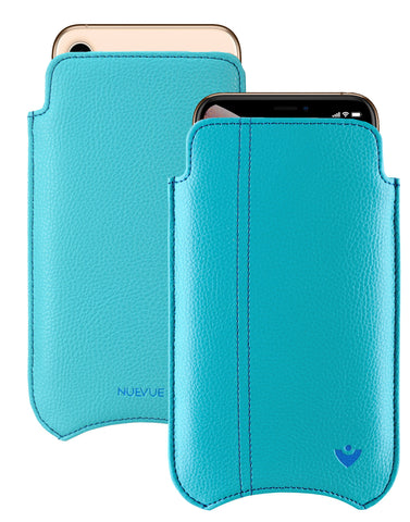 NueVue iPhone 11/iPhone XR Case Faux Leather | Teal Blue | Sanitizing Screen Cleaning Case