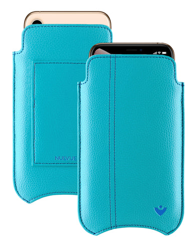 NueVue iPhone Xs Max Wallet Case Faux Leather | Teal Blue | Sanitizing Screen Cleaning