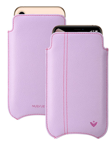 NueVue iPhone 11 Pro Max and iPhone Xs Max Case Faux Leather | Sugar Purple | Sanitizing Screen Cleaning Case