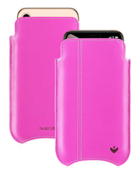 NueVue iPhone Xs Max Case Napa Leather | Hot Pink | Screen Cleaning Sanitizing Case