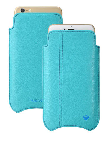 iPhone 6/6s Case in Blue Vegan Leather | Screen Cleaning Sanitizing Sleeve Case.