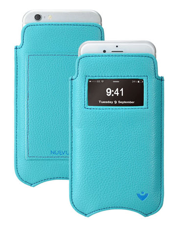 iPhone 8 / 7 Pouch Wallet Window Case Blue Faux Leather 'Built-in Screen Cleaning Technology'