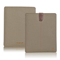Khaki Cotton Twill 'Screen Cleaning' iPad sleeve case with antimicrobial lining