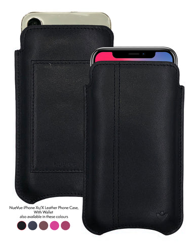 iPhone X/Xs Wallet Case | Screen Cleaning and Sanitizing Lining | Genuine USA Cowhide Leather.