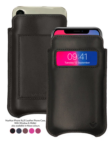 iPhone X/Xs Wallet Case | Screen Cleaning and Sanitizing Lining | Genuine USA Cowhide Napa Leather | Smart Window