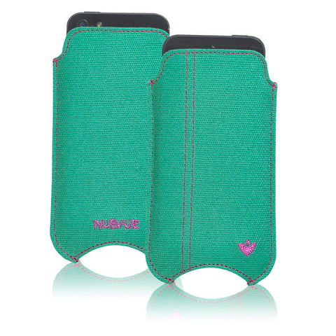 iPhone SE, 5 Pouch Case in Aqua Green canvas 'Screen Cleaning' with protective antimicrobial lining