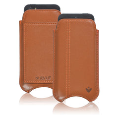 Tan Leather 'Screen Cleaning' iPhone SE, 5 pouch wallet case with antimicrobial lining