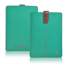iPad mini Sleeve Case in Canvas Aqua Green | Screen Cleaning Sanitizing Lining.