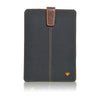 iPad mini Sleeve Case in Black Cotton Twill 'Screen Cleaning' with sanitizing antimicrobial lining