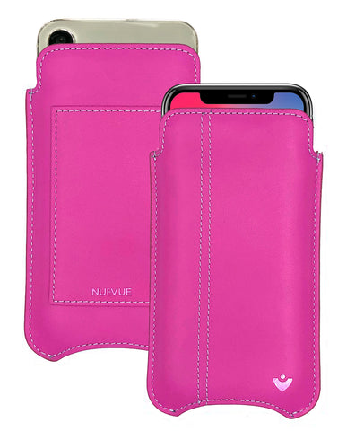 NueVue iPhone X Leather Pink Phone Wallet Case
