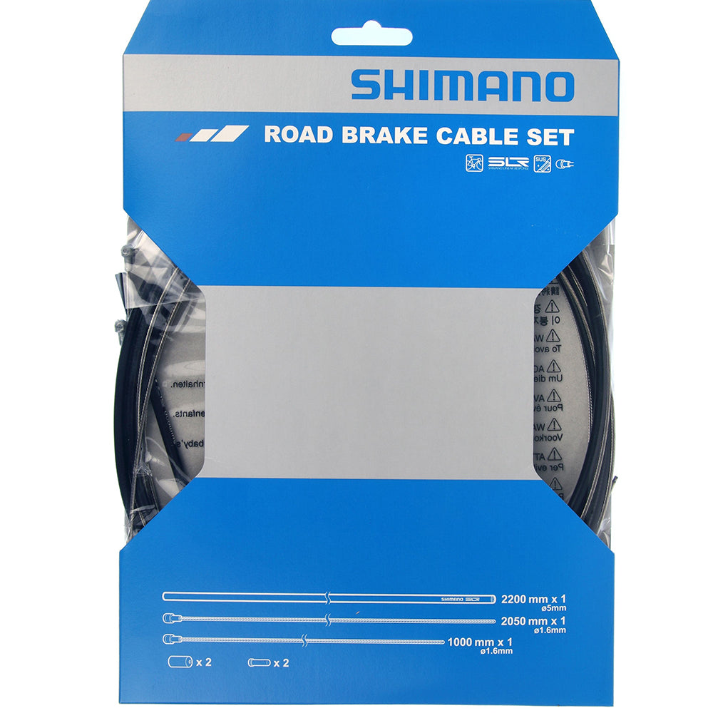 Road brake cable set with stainless steel inner wire, black