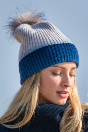 Sustainable Cashmere Hat - Blue