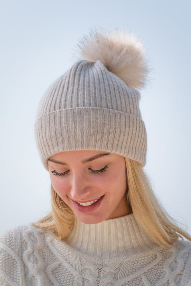 Sustainable Cashmere Hat - Heather Stone
