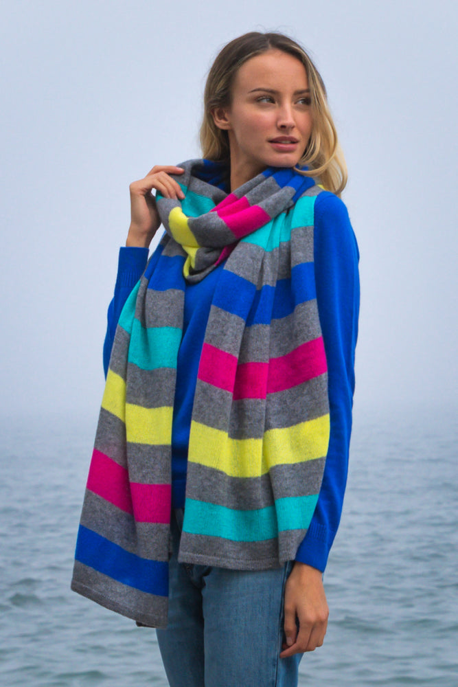 Sustainable Cashmere Lofty Scarf - Multi Stripe