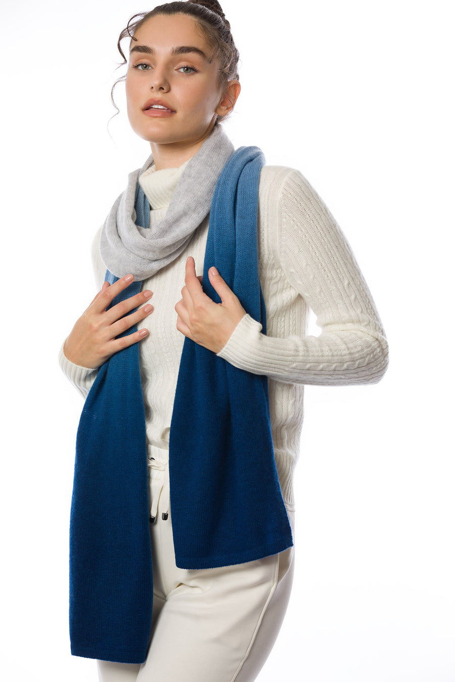 Sustainable Cashmere Lofty Scarf - Blue Dip-Dye - Dongli Cashmere