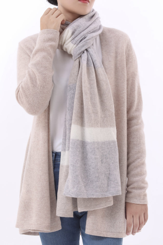 Sustainable Cashmere Lofty Scarf - Natural Stripe