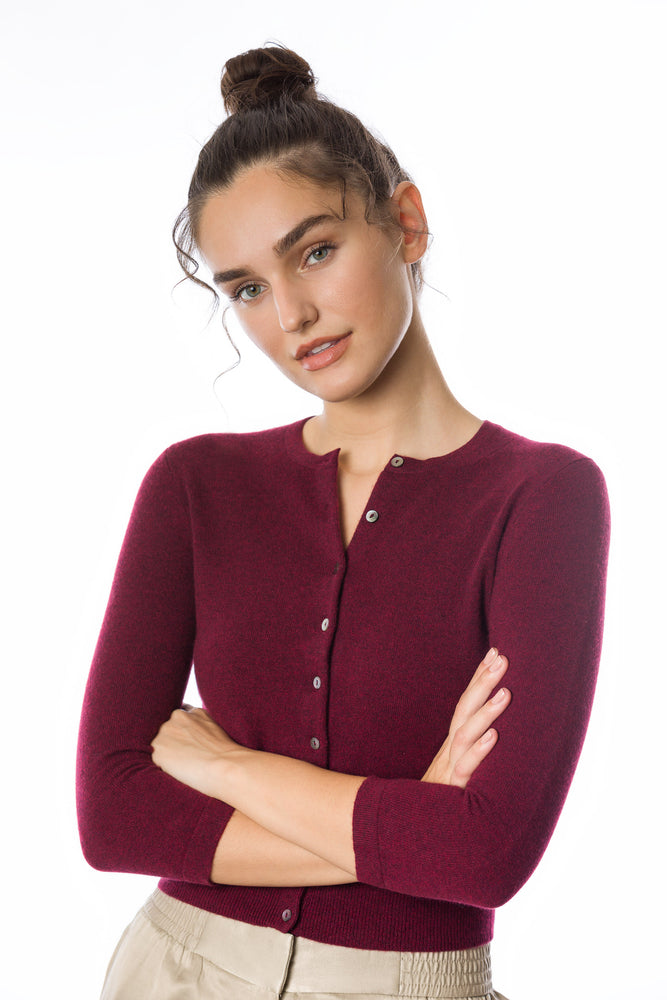 Sustainable Cashmere Cropped Cardigan - Rich Red