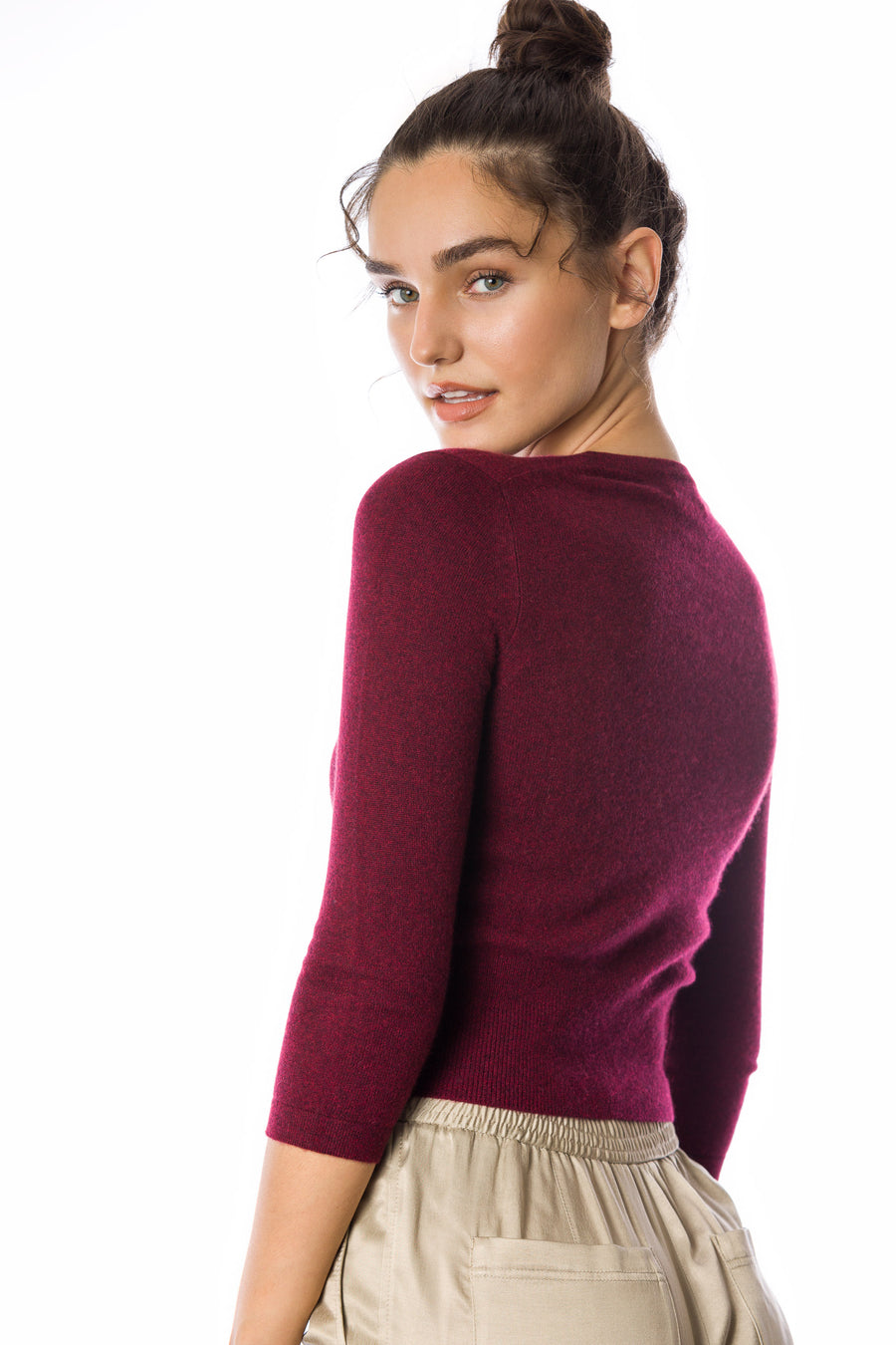 Sustainable Cashmere Cropped Cardigan - Rich Red - Dongli Cashmere