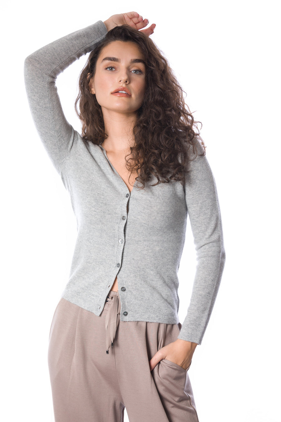 Sustainable Cashmere V-Neck Cardigan - Frost