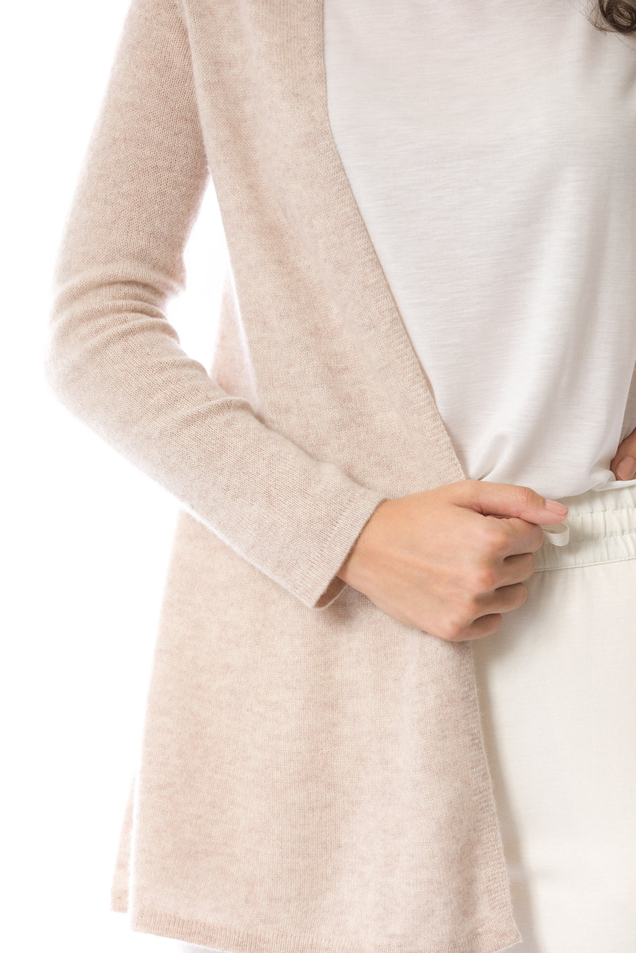 Sustainable Cashmere Lofty Longline Cardigan - Soft Beige - Dongli Cashmere