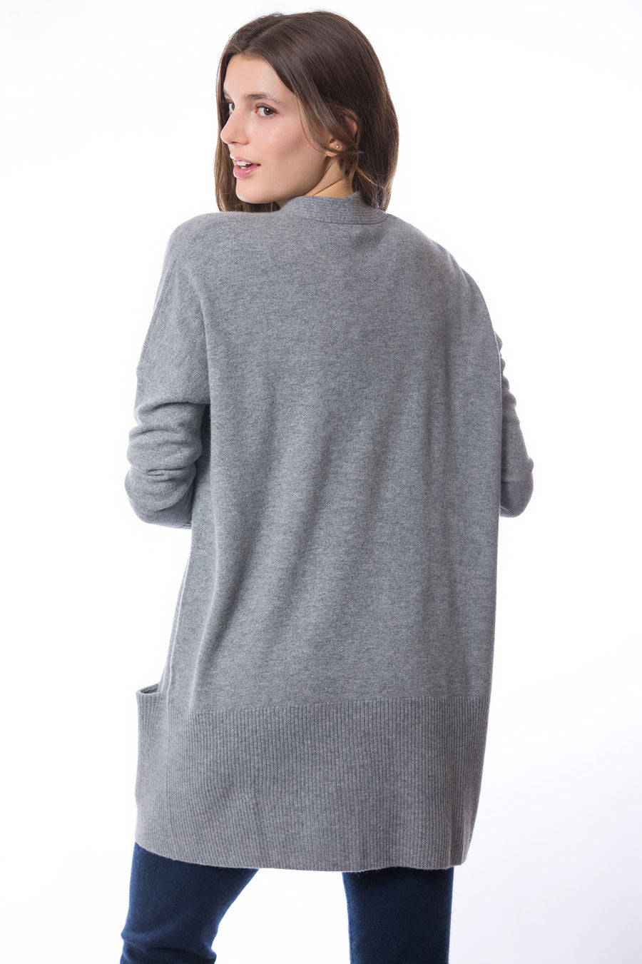 Sustainable Cashmere Edge To Edge Cardigan - Soft Grey Marl - Dongli Cashmere