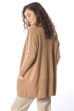 Load image into Gallery viewer, Sustainable Cashmere Edge To Edge Cardigan - Dark Camel