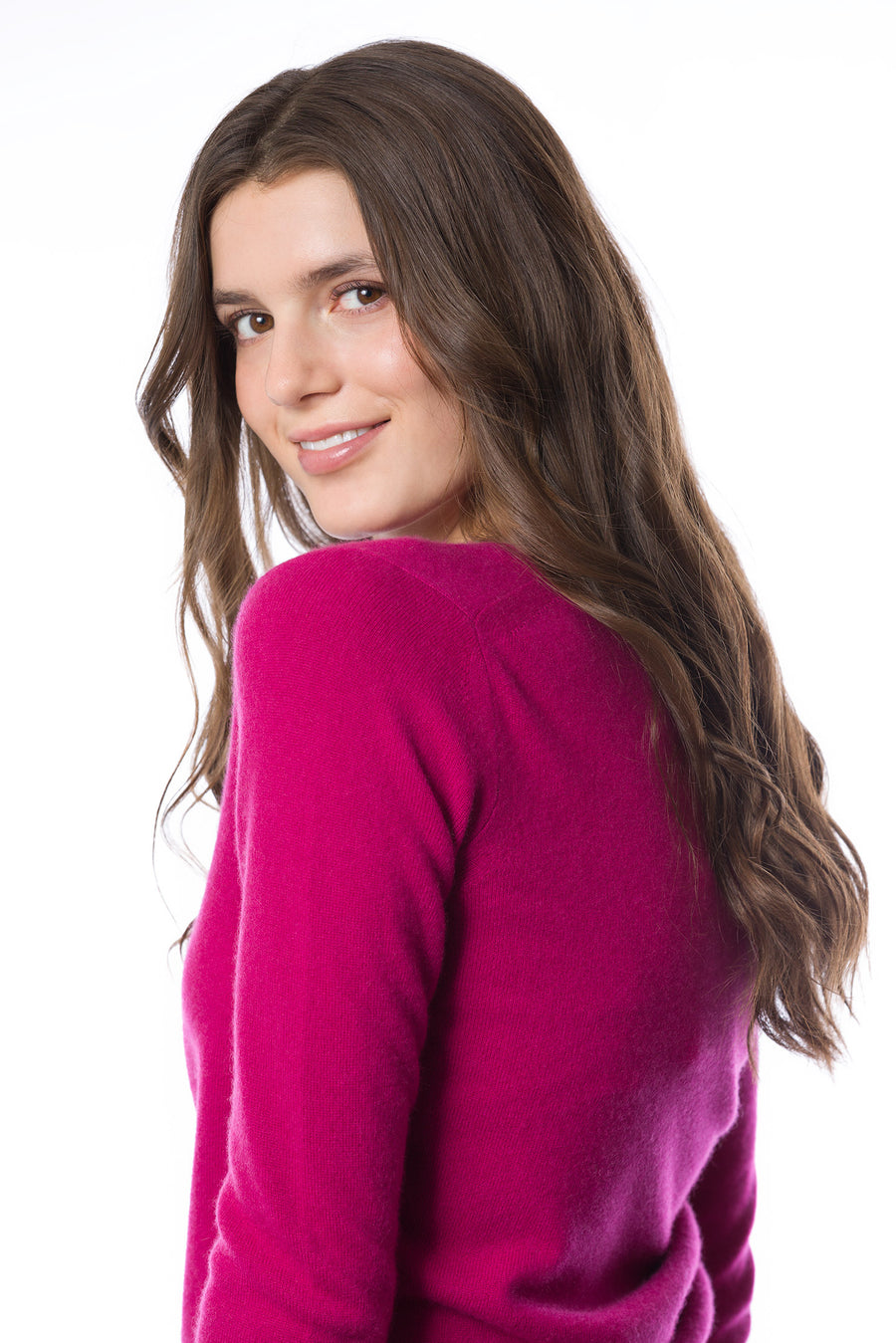 Sustainable Cashmere V-Neck Sweater - Hot Pink